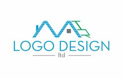 House roof logo. A blue and green colored roof house logo Stock Photo