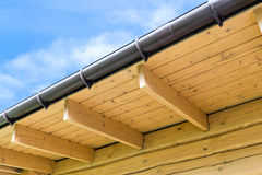 House roof rafters. Roof structure with wooden rafters in traditional style stock image