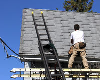 House roof repair stock image