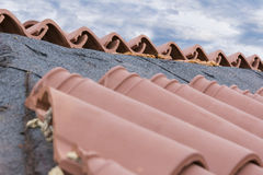 House roof restoration. Reconstruction of the house roof Stock Photo