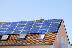 House roof with solar panels Royalty Free Stock Photography