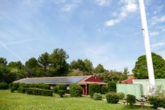 House roof with a solar panels on top Stock Photography