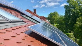 House roof with solar panels on top stock footage