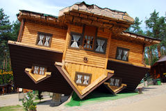 House on the roof in Szymbark. Famous wooden house on the roof in Szymbark in northern Poland stock photos
