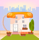 House with roof telephonin a big city in happy color,. Connect conception,connect-house icon Stock Photography