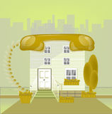 House with roof telephonin a big city in yellow, connect concept. Ion,connect-house icon.Real estate connection concept Royalty Free Stock Images
