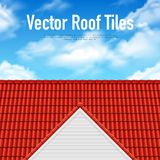 House Roof Tile Poster. With red covering and blue cloudy sky vector illustration Stock Photo