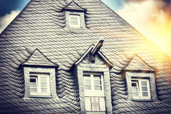 House roof top with stone tile Stock Photography