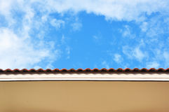 House roof. The upper part of the house in the sky,Thailand royalty free stock photography
