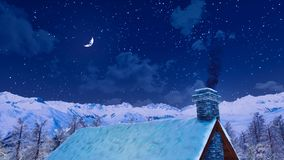 Free House Roof With Smoking Chimney At Winter Night Royalty Free Stock Image - 132928146