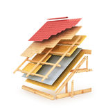 House roofing technical details. 3d  illustration Stock Photo