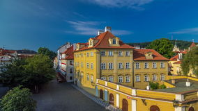 House roofs on Kampa Island near Charles Bridge timelapse hyperlapse, Prague, Czech Republic stock footage