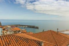 House roofs of Lastres sailor coastal village in Asturias Stock Photo