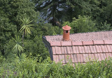 House rooftop with chimney Royalty Free Stock Photo