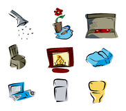 House Room Icons Stock Photography