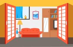 Cartoon Bedroom Apartment Livingroom Interior Stock Vector