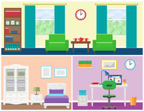 House rooms interior in flat style. Vector graphic. Interior – living room, bedroom, office place. Flat vector house design with furniture including armchair Royalty Free Stock Images