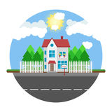 House on round background along the road. Part of the rural and Royalty Free Stock Images