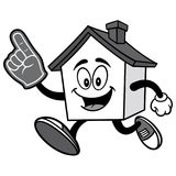 House Running with Foam Finger Illustration. A vector illustration of a cartoon House Royalty Free Stock Photos