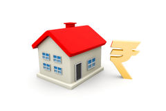 House with rupee symbol Royalty Free Stock Photography