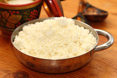 House rural cottage cheese. In a metal bowl Royalty Free Stock Photos