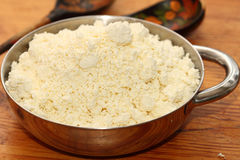House rural cottage cheese. In a metal bowl Royalty Free Stock Images