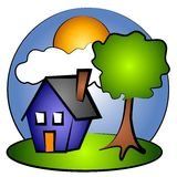 House Rural Scene Clip Art 2 Royalty Free Stock Photos