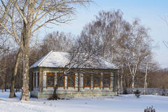 The house in russian village NIZHNE ABLYAZOVO in winter in Penza Stock Photography