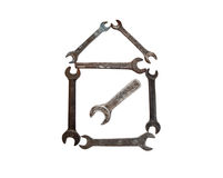 House from rusty wrench Stock Photography