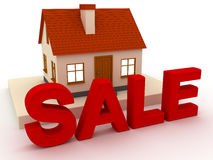 House sale. The house of exhibiting to sale. 3D render Royalty Free Stock Images