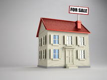 House for sale. 3d render illustration of house with 'for sale' sign stock illustration