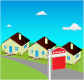 House for sale. Houses for sale with a for sale sign Royalty Free Stock Image