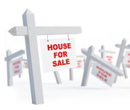 House for sale. Blank house for sale on a white background Royalty Free Stock Image