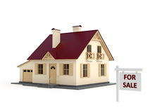House for sale. House and sign for sale Stock Photography