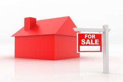 House Sale. 3D render of a house for sale Royalty Free Stock Photography