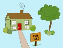 House for Sale. Artistic computer illustration. For sale sign in front of house Stock Photos