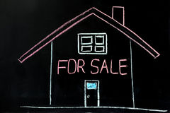 House for sale. Chalk drawing - House for sale Stock Image