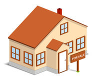 House for sale. Isometric house with sign 'For Sale stock illustration