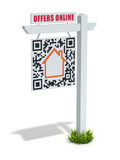 House For Sale. 3D web advertising concept with QR label Royalty Free Stock Photography