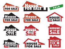 House for sale. A variety of simple signs for selling house