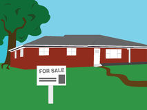 House for sale. Vector illustration of a bungalow house for sale Royalty Free Stock Photo