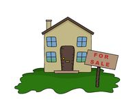 House for Sale. Illustrated House with For Sale sign
