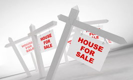 House for sale. Advertising sale of house on a white background Royalty Free Stock Photo