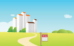 House sale. Vector houses sale,fields and meadows Royalty Free Stock Photo
