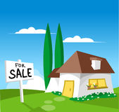 House For Sale. (check out my other illustration with SOLD sign Royalty Free Stock Image