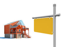 House for sale with blank billboard Royalty Free Stock Photos