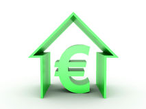 House Sale. 3D image of green house with euro sign on white background Royalty Free Stock Image