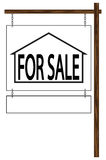 House For Sale Hanging Sign Stock Photo