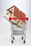 House for sale. Home up for sale in a shopping trolley Royalty Free Stock Image