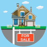 House for sale. House for sale icon For web design and application interface Real estate. Vector illustration in flat style Stock Photo